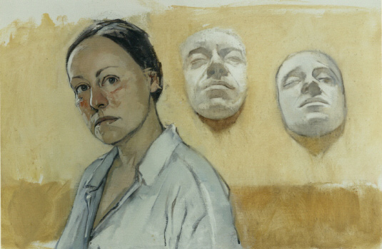 Mary Beth McKenzie, Self-portrait (life masks), 1993. oil on canvas 17 x 25 in. Collection of the National Academy Museum.
