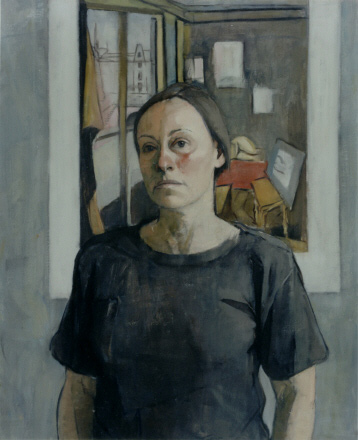 Mary Beth McKeznie, Self-portrait (Matisse print), undated. Oil on canvas,32 x 25 in. Collection of the Metropolitan Museum of Art.