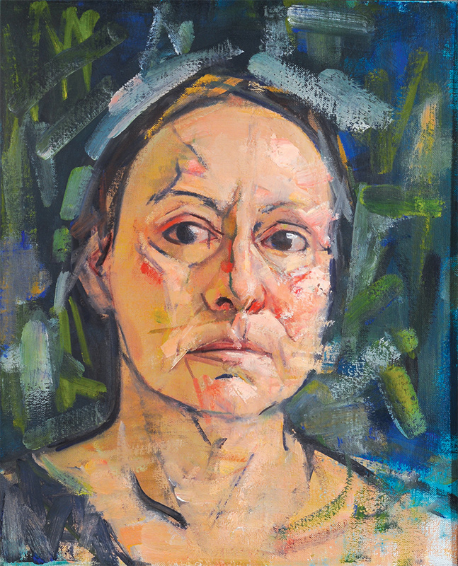 Mary Beth McKeznie, Self Portrait (green background), 2009. Oil on canvas, 18 x 14 in.