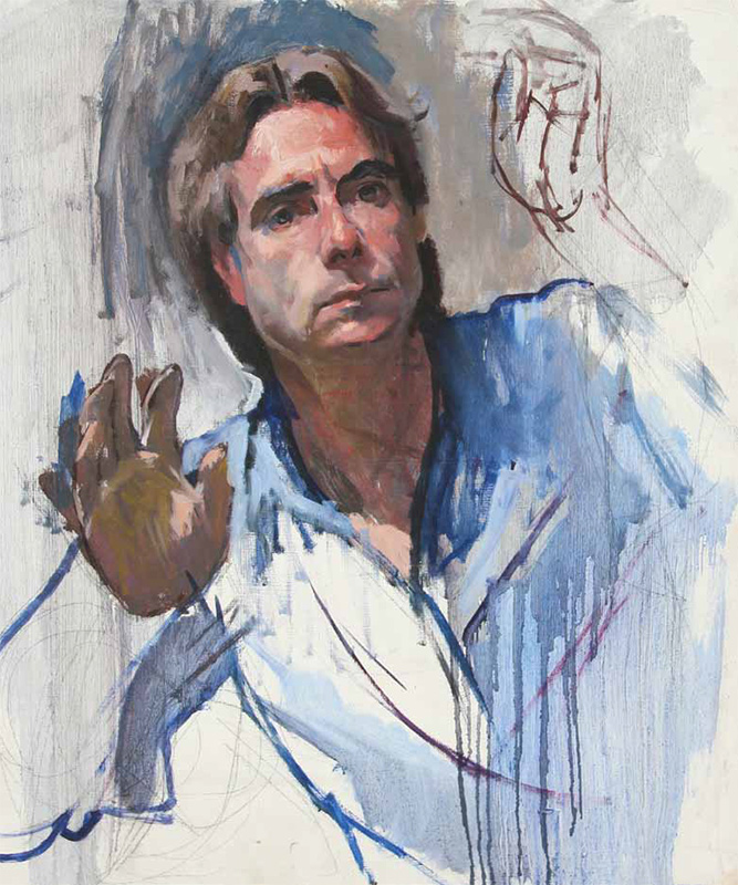"Self-Portrait"" (ca. 1990; oil on panel, 23 x 19 1/2)."