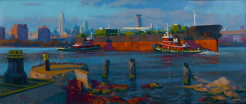Joseph Peller, Tugs and Barge at Sunset.                       Oil on linen, 22 x 52 in.