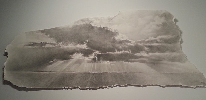 """Sky"", graphite on paper, 7 feet by 3 feet, 2013."