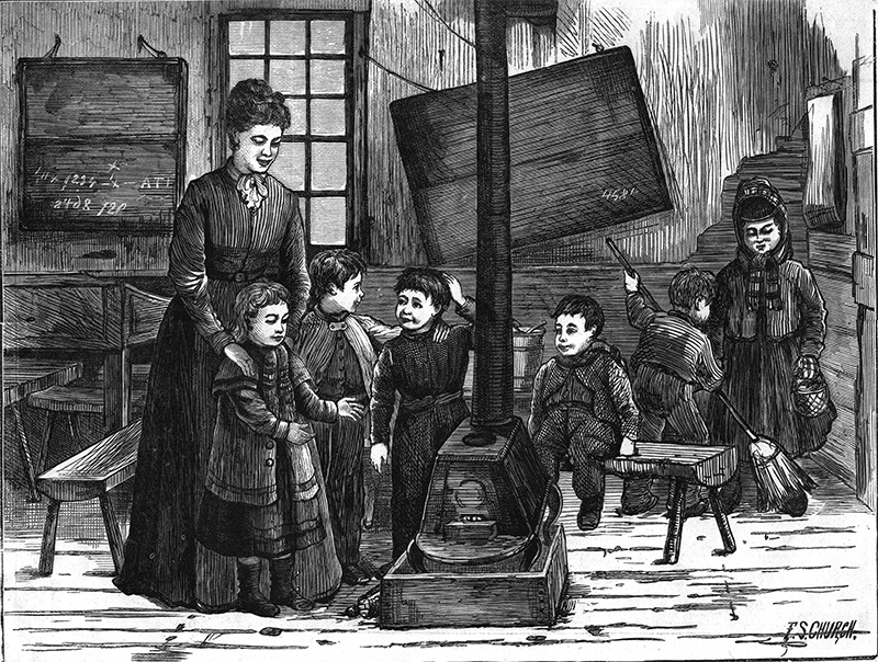 Image of a cold morning in a country Art School that appeared in Harper's Weekly
