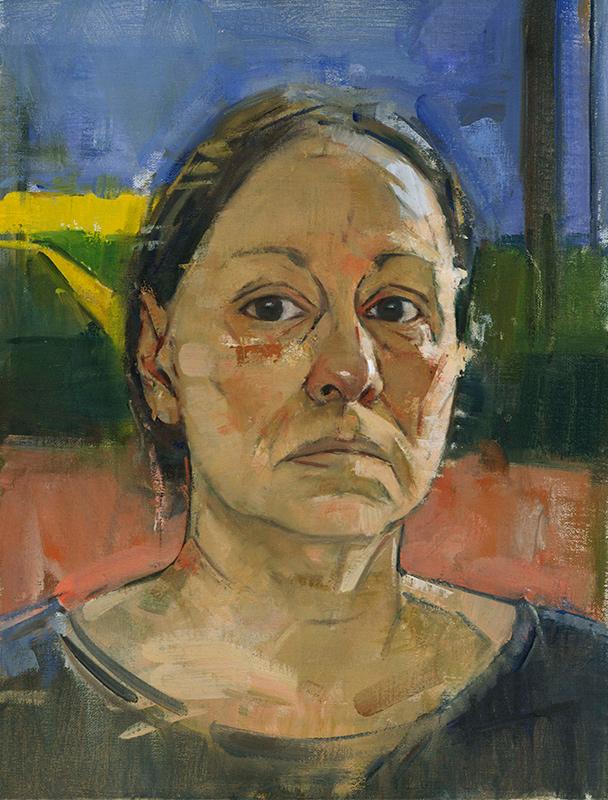 Mary Beth McKenzie, Self-portrait (Diebenkorn poster), undated. Oil on canvas, 14 x 11 in.