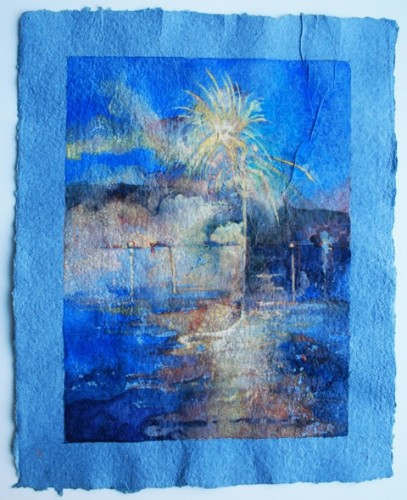 July 4th, Exploding Rockets, Lake Waccabuc, NY, watercolor & gouache on  blue HMP,16 x 20, 2010  (1)