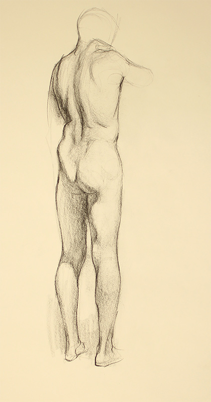 """Dan Gheno's Standing Male Figure From Behind (2013) appeared with his article, """"Learning Through Copying,"""" in the Fall 2013 issue of Drawing Magazine."""