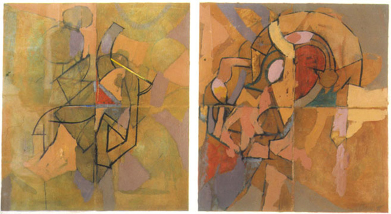 George Cannata, Diptych Number Four, 1999. Oil and charcoal on paper.