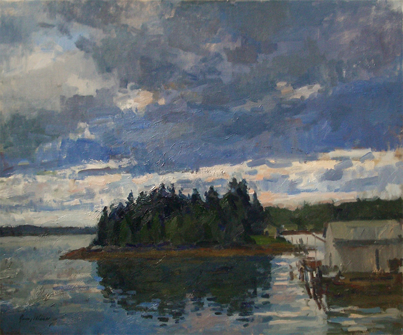 Jerry Weiss, Raspberry Island, undated. Oil on canvas, 30 x 36 in.