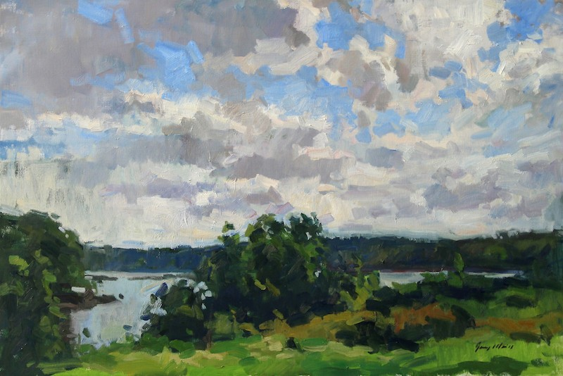 Jerry Weiss, Sky over Spruce Head, 2013. Oil on canvas, 24 x 36 in.