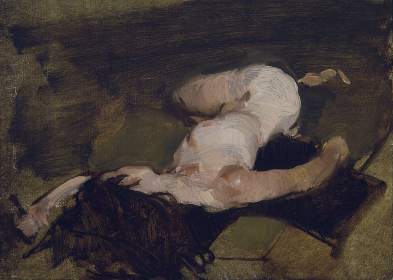 Sherrie McGraw's Tuesday Reclining, 2011. Oil on board, 10 x 14 in.