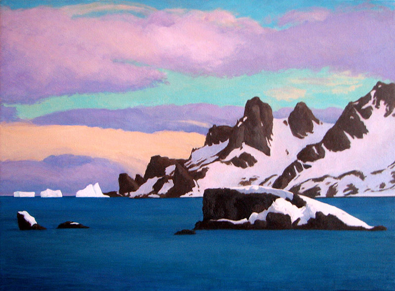 Gregory Frux, Paradise Bay, Antarctic, 2008. Oil on canvas, 18 x 24 in. Based on field sketches.