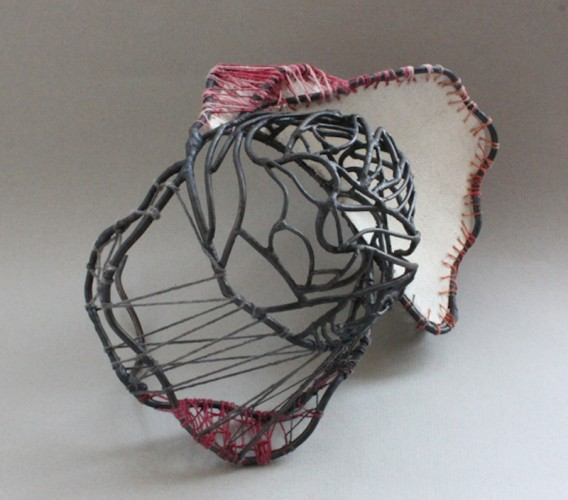 #1 Steel with canvas and linen threads 10x7 2012