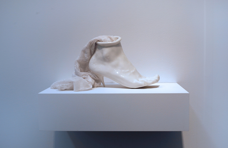 The late Birgit Jürgenssen (1949-2003) formed delicate yet powerful statements on the female body through the lens of Surrealist sculpture. Birgit Jürgenssen, Porcelain Shoe, 1976. Alison Jacques Gallery, London