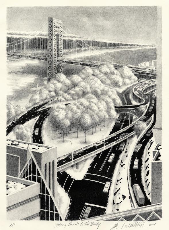 Michael Pellettieri, Many Roads to the Bridge, 2005. Lithograph, 14 7/8 x 10 13/16 in.