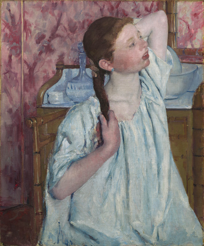 Mary Cassatt, Girl Arranging Her Hair, 1886. Oil on canvas, 75.1 x 62.5 cm. Chester Dale Collection 1963.10.97. Collection of the National Gallery of Art.