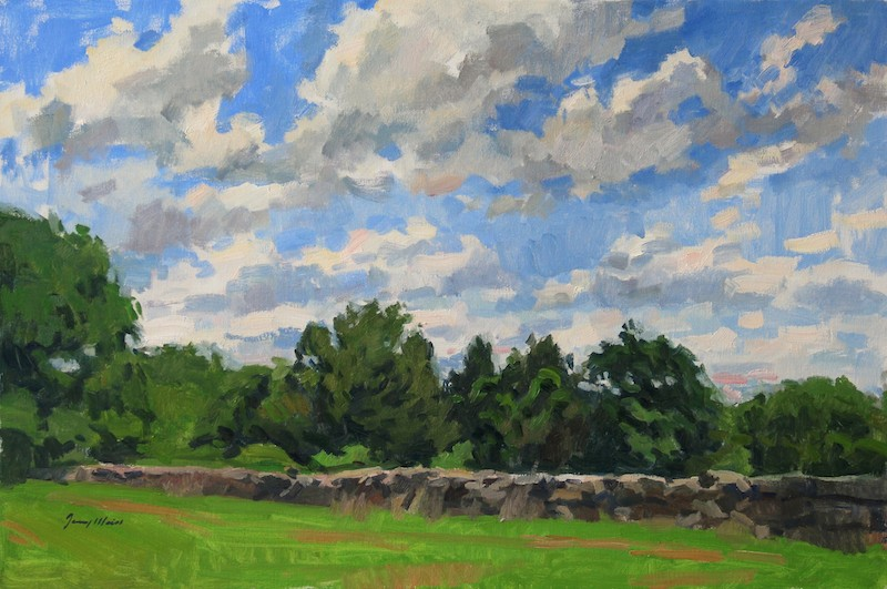 Jerry Weiss, July at Ashlawn Farms. Oil on canvas, 24 x 36 in.