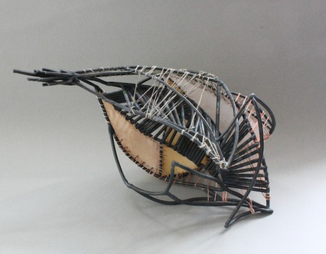 #Kaki Steel with paper and linen threads 2012
