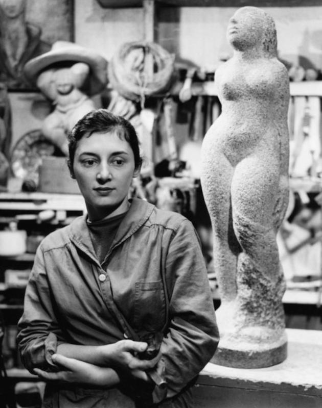 Lorrie Goulet in her Green Street Studio, 1955