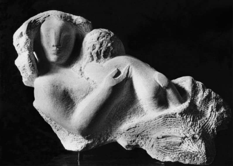 Lorrie Goulet, The Cradle of Life, 1969. Limestone, 16 1/2 x 22 in. Collection of Elayne Goldhair.