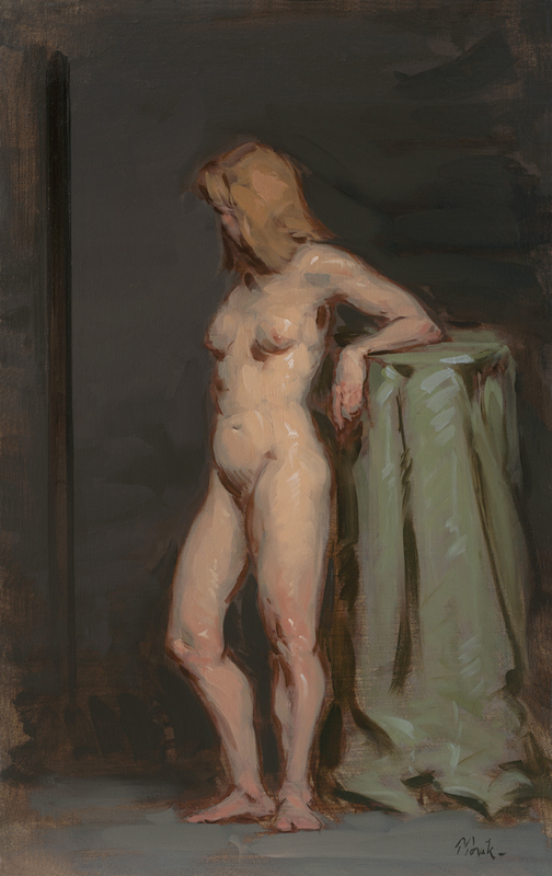 Thomas Torak, Standing Nude, 2014. Oil on linen, 22 x 14 in.