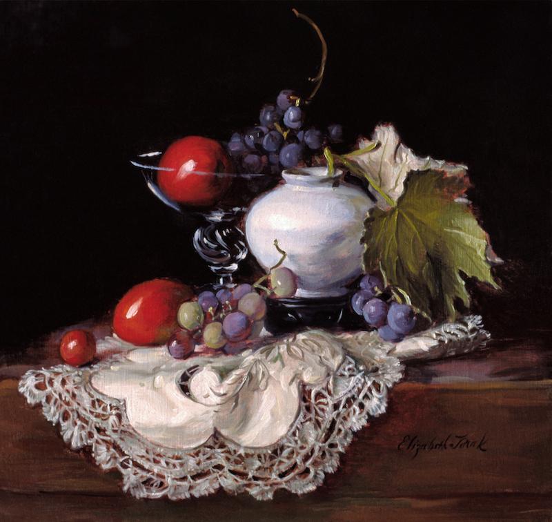 Elizabeth Torak, Design, 1997. Oil on linen, 16 x 17 in.