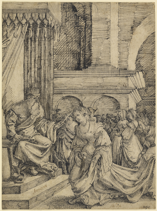 Frans Crabbe van Espleghem, Esther Before Ahasuerus, ca. 1525. Pen-and-dark-brown-ink with touches of gray-brown wash over black chalk, 9 5/16 x 7 5/8 in. The J. Paul Getty Museum.