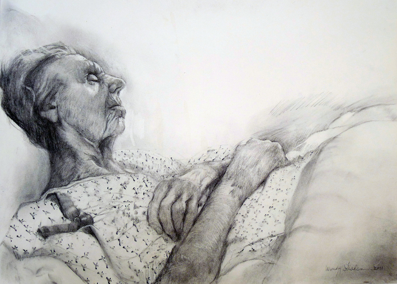 Sherry Camhy, Peter Upside Down, 2013. Graphite on paper, 20 x 30 in.