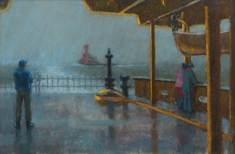 Joseph Peller, Wake of the Ferry, undated. Pastel on paper, 15 x 22 in.