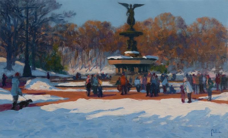 Joseph Peller, Winter Promenade, undated. Oil on linen, 11 x 18 in.