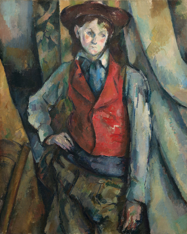 Paul Cézanne, Boy in a Red Waistcoat, 1888–90. Oil on canvas, 35 1/4 x 28 1/2 in. Collection of Mr. and Mrs. Paul Mellon, in Honor of the 50th Anniversary of the National Gallery of Art. National Gallery of Art.