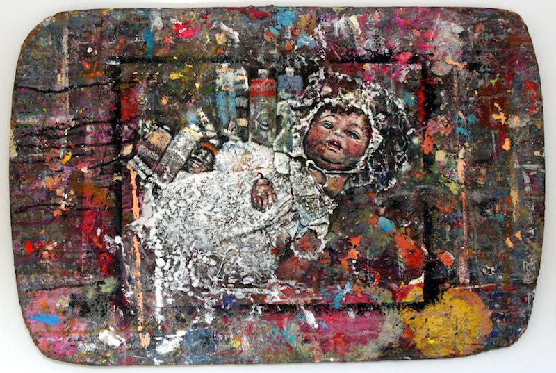 Sherry Camhy, Aunt Helen's Doll—III, 2008. Oil on board, 24 x 36 in.