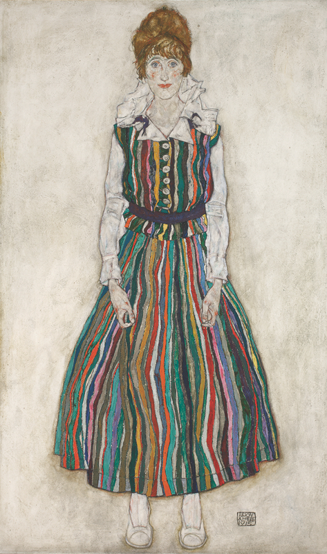 Egon Schiele, Portrait of the Artist's Wife, Standing (Edith Schiele in Striped Dress), 1915. Oil on canvas. Collection Gemeentemuseum Den Haag, The Hague, The Netherlands.