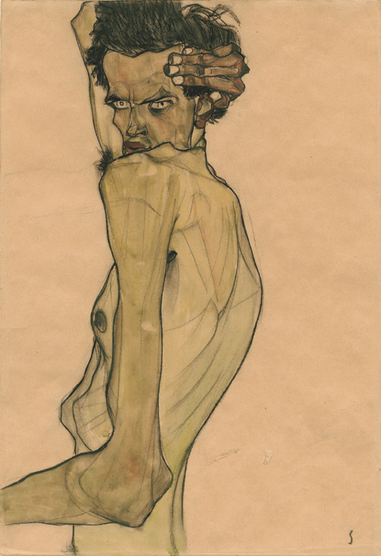 Egon Schiele, Self-Portrait with Arm Twisted above Head, 1910. Watercolor and charcoal. Private collection.