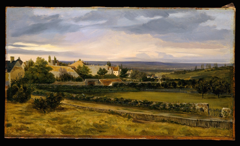 Théodore Rousseau, A Village in a Valley, late 1820s. Oil on paper, mounted on canvas Dimensions: 9 1/8 x 16 in. The Friedsam Collection, Bequest of Michael Friedsam, 1931. The Metropolitan Museum of Art.