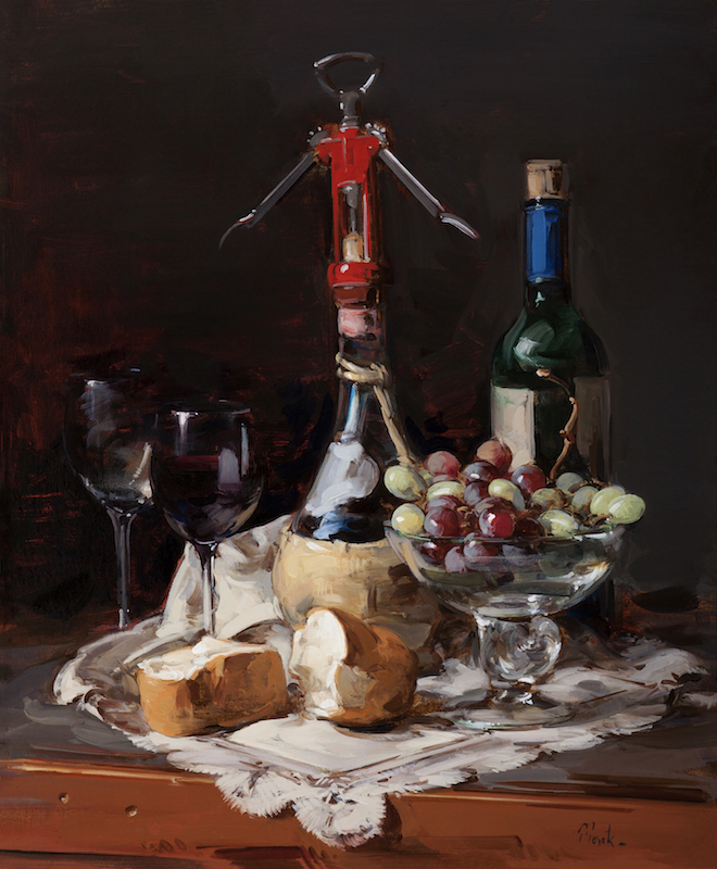 Thomas Torak, Bread and Wine, 2013. Oil on linen, 24 x 20 in.