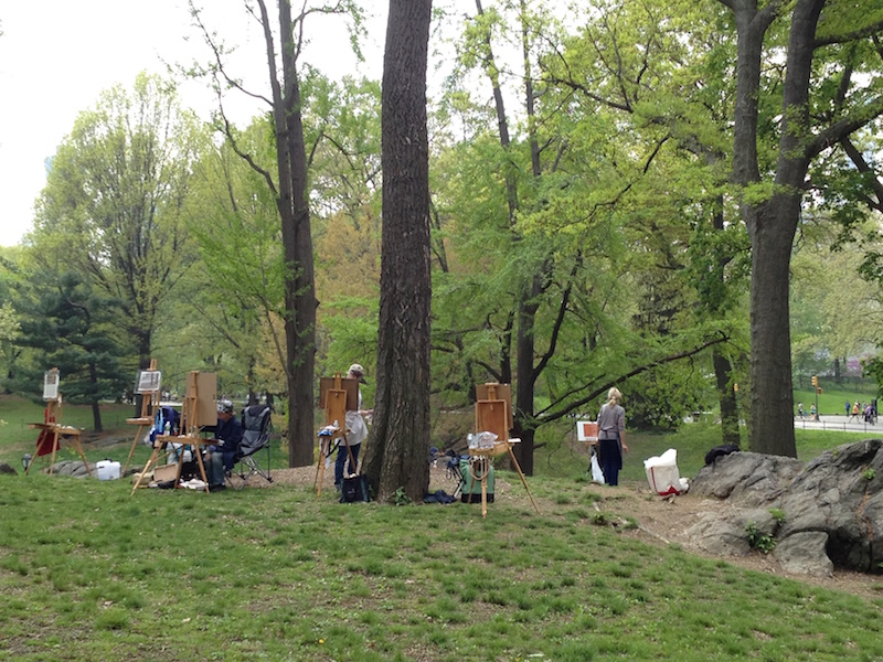 Students in Central Park during a previous year's Introduction to Plein-Air Painting workshop