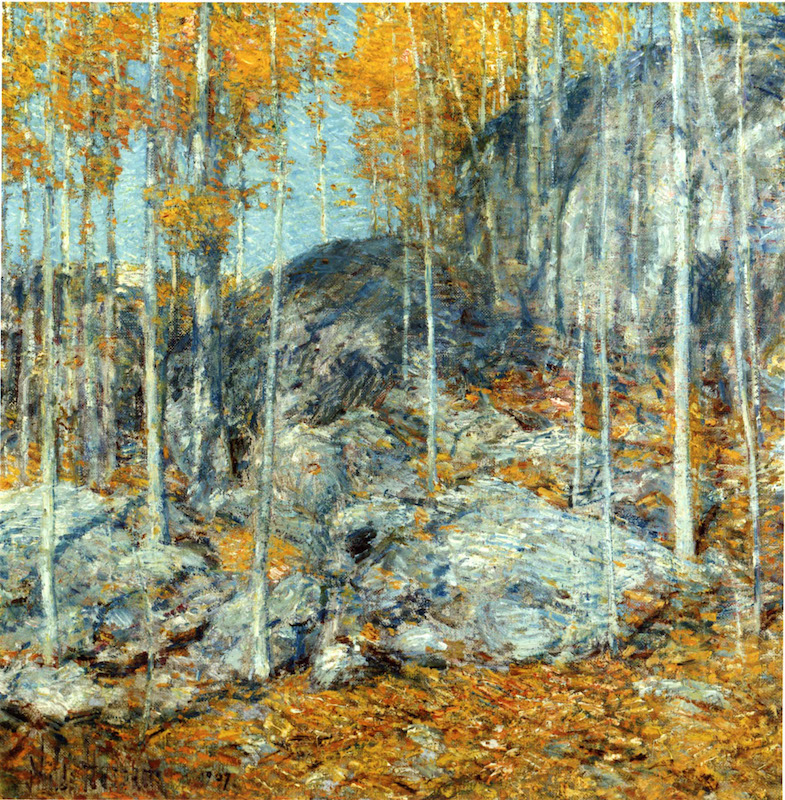 Frederick Childe Hassam, The Ledges, October in Old Lyme, Connecticut, 1907. Oil on canvas, 18 x 18 in. Gift of The Hartford Steam Boiler Inspection and Insurance Company. Florence Griswold Museum.