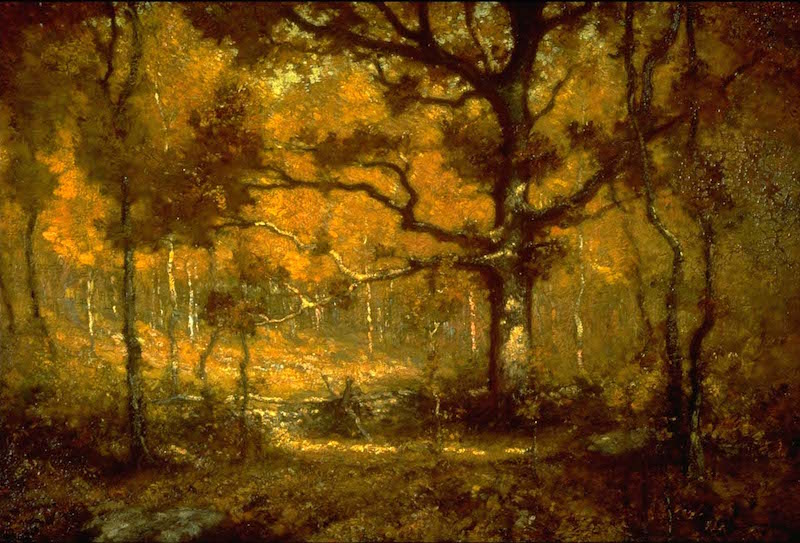 Henry Ward Ranger, Autumn Woodlands, 1902. 28 in. x 36 in. Florence Griswold Museum; Gift of Mr. Israel Liverant.