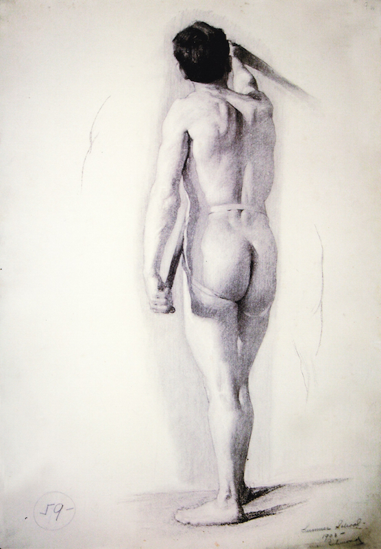 """Agnes M. Richmond, Academic drawing, 1903. Charcoal on paper, 29 1/2 x 20 in. Inscriptions: """"Summer School 1903 Agnes Richmond."""" """"Schoalrship Prize, G.W. Breck."""" Student of Kenyon Cox. Permanent Collection, Art Students League of New York."""