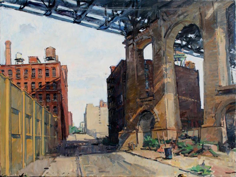 Tom Loepp. Under the Manhattan Bridge, 1991. Oil on linen, 32 x 42 in.