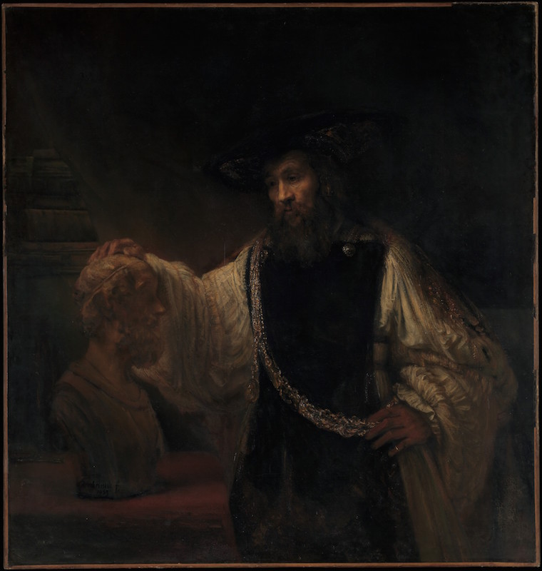 "Aristotle Contemplating a Bust of Homer by Rembrandt van Rijn. ""To me,"" said Liedtke, ""this is one of the monuments of Western culture."" See https://www.youtube.com/watch?v=B2dCeTPDEKY"