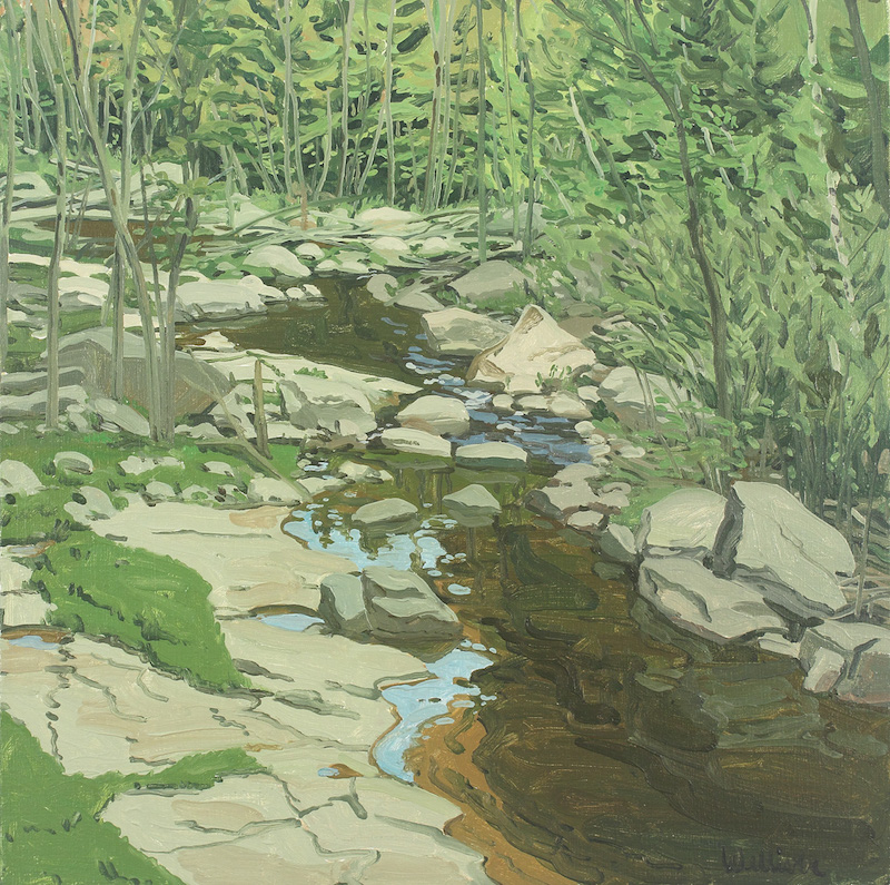 Neil Welliver, Study for Spring Brook, 1982. Oil on canvas, 24 1/8 x 24 1/8 in. ©Neil Welliver, courtesy Alexandre Gallery, New York.