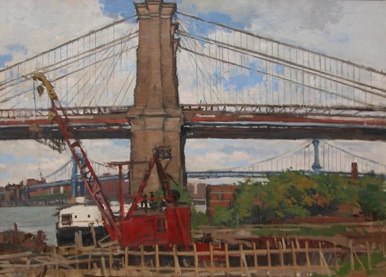 Jerry Weiss. Red Crane, Brooklyn Bridge, 1991. Oil on linen, 25 x 34 in.