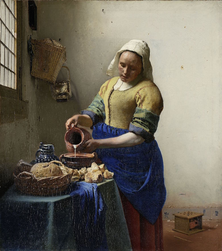 "The Milkmaid by Johannes Vermeer. Liedtke wrote, ""In The Milkmaid, tactile and optical sensations coexist: nowhere else in Vermeer's oeuvre does one find such a sculptural figure and such seemingly tangible objects, and yet the future painter of luminous interiors has already arrived."" See http://www.metmuseum.org/toah/hd/milk/hd_milk.htm"