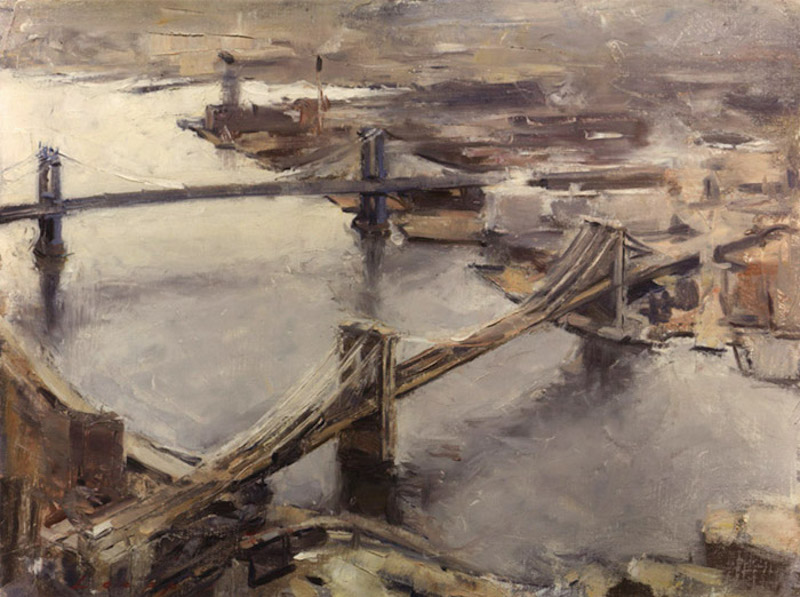 Tom Loepp, East River from the World Trade Center, 1989. Oil on linen, 14 x 18 in. Private collection.