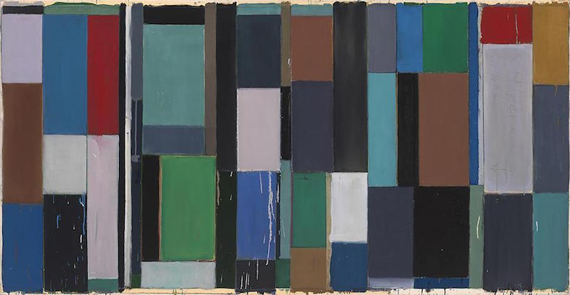 Pat Lipsky, Builder, 1999. Alkyd, oil, collage, and acrylic on canvas, 41⅞ x 80¼ in.