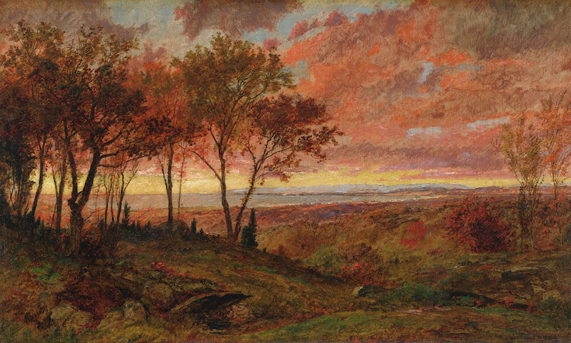 Jasper Francis Cropsey (1823–1900), Autumn Sunset, 1895. Oil on canvas, 12 1/16 x 20⅛ in.