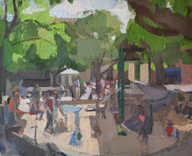 "John Dubrow Playground Sandbox2008-15 Oil on linen 44"" x 54"" Courtesy of the Artist and Lori Bookstein Fine Art"