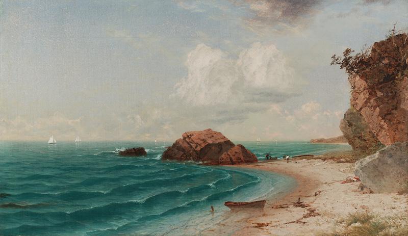 John Frederick Kensett (1816–1872), New England Coastal Scene with Figures, 1864. Oil on canvas, 14¼ x 24 3/16 in.