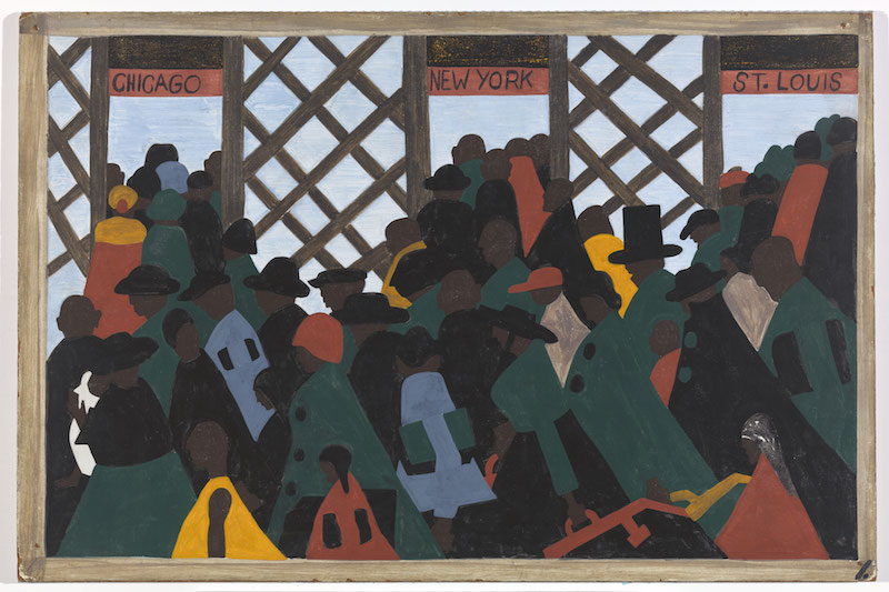 "Jacob Lawrence. The Migration Series, 1940-41. Panel 1: ""During the World War there was a great migration North by Southern Negroes."" Casein tempera on hardboard, 18 x 12 in. (45.7 x 30.5 cm). The Phillips Collection, Washington D.C. Acquired 1942. © 2015 The Jacob and Gwendolyn Knight Lawrence Foundation, Seattle / Artists Rights Society (ARS), New York. Photograph courtesy The Phillips Collection, Washington D.C."